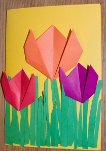 Apsveikumi ar origami tulpēm/ Cards with Origami Tulips